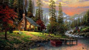 Artistic Cabin Forest Mountain Painting 1920x1080 Wallpaper