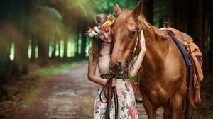 Brunette Depth Of Field Dress Girl Horse Mood Smile Woman Wreath 2048x1238 Wallpaper