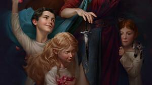 Sophie Medvedeva Knife Portrait Display Children White Clothing Red Dress Digital Painting White Eye 1920x2701 Wallpaper