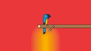 Animals Birds Parrot Minimalism Red Background Simple Background Artwork 1920x1080 Wallpaper