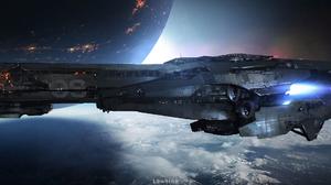Aircraft Galaxy Planet Spaceship 2495x1080 Wallpaper