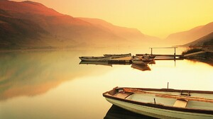 Boat Fog Lake Reflection Vehicle 1920x1200 Wallpaper