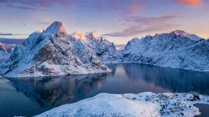 Bay Lofoten Norway Snow Winter 3002x2000 Wallpaper