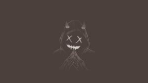 Minimalism Demon Smile Hand Gesture Photoshop Dark 1920x1080 Wallpaper