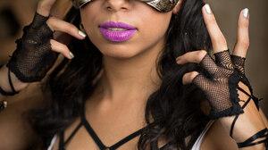 Women Model Brunette Long Hair Steampunk Steampunk Girl Portrait Display Mask Purple Lipstick Finger 3840x5760 Wallpaper