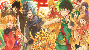Happy New Year Celebration Party Izuku Midoriya Katsuki Bakugou Shoto Todoroki Ky Ka Jir Tsuyu Asui  2039x1378 Wallpaper