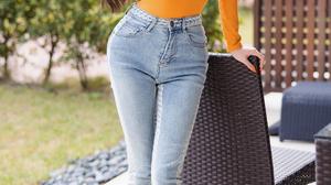 Women Outdoors Outdoors Orange Dress Pumps High Heels Long Hair Asian Looking At Viewer Skinny Jeans 2160x3840 Wallpaper