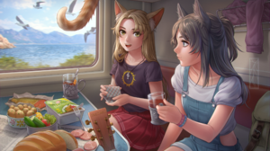 Anime Anime Girls Train Cat Eyes Green Eyes Blue Eyes Cat Tail Tail Backpacks Tea Party Tea Guitar P 2500x1667 Wallpaper