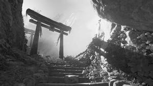 Japanese Shrine Monochrome Render Steps Rocks Digital 1920x1080 Wallpaper