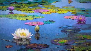 Artistic Colorful Colors Lily Pad Painting Pond Water Lily 2030x1372 Wallpaper