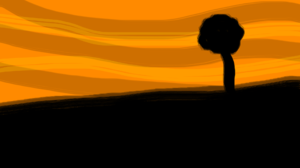 Sunset Evening Artwork Dark Sky Abstract Trees Landscape 1920x1080 Wallpaper