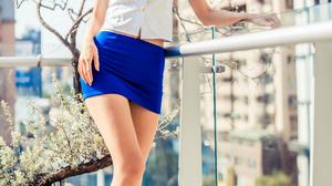 Asian Model Women Long Hair Dark Hair Flight Attendant Uniform Nylons Sandals Balcony Depth Of Field 2560x3840 Wallpaper