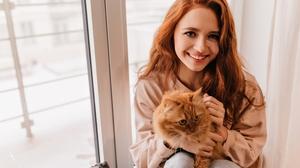Women Redhead Long Hair Pet Smiling Smile Looking At Viewer Feline 4K Cats 3840x2560 Wallpaper