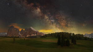Nature Milky Way Landscape Trees Dolomites Mountains 3999x2052 Wallpaper