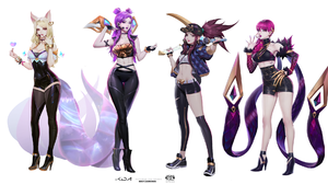 Digital Art Artwork Video Games League Of Legends Women K DA Ahri League Of Legends Akali League Of  1920x1042 Wallpaper