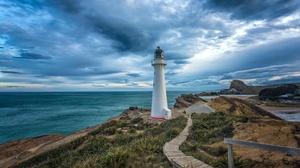 Cloud Coast Horizon Lighthouse New Zealand Ocean 3071x2050 Wallpaper