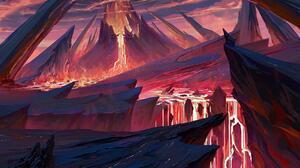 Artwork Digital Art Mountains Volcano 1800x1274 Wallpaper