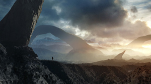 Landscape Man Mountain Sci Fi 2560x1280 Wallpaper