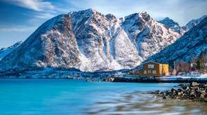 House Mountain Norway Rock Snow Winter 3840x2160 Wallpaper