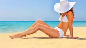 Beach Bikini Hat Horizon Legs 5990x3744 wallpaper