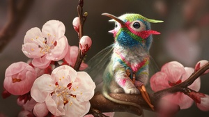 Blossom Blue Hair Creature Fairy Girl Pink Flower Pointed Ears 2560x1585 wallpaper