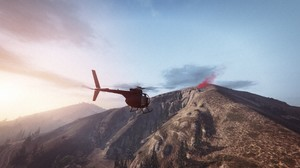 Grand Theft Auto V Grand Theft Auto Online Rockstar Games Mountains Morning Beacon Helicopters 1920x1080 Wallpaper