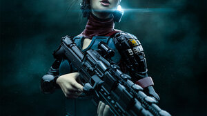 Cyborg Weapon Women Girls With Guns Science Fiction Science Fiction Women Artwork 1148x1920 Wallpaper