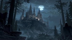 Castle Moon Night 1920x1167 wallpaper