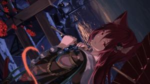 Anime Anime Girls Mikisai Artwork Animal Ears Redhead Red Eyes Umbrella 2400x1800 Wallpaper
