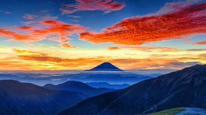 Cloud Horizon Japan Mount Fuji Mountain Sky 5120x2880 wallpaper