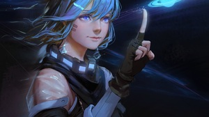 Blue Hair Glove Earrings Blue Eyes Planet Finger 1920x1728 wallpaper