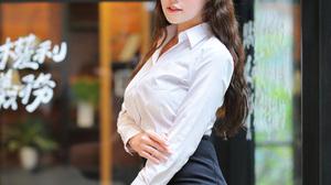 Asian Model Women Long Hair Dark Hair Depth Of Field White Shirt Nylons Black Skirts Glasses Black H 1920x2880 Wallpaper