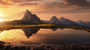 Carsten Bachmeyer Landscape Sky Clouds Cliff Dolomites Mountains Sunlight Water Nature Reflection 2000x1034 Wallpaper