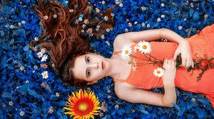 Brown Eyes Flower Girl Lying Down Model Orange Dress Redhead Woman 2560x1706 Wallpaper
