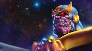 Thanos Marvel Comics Villains Digital Art Glowing Eyes Red Eyes 1920x1080 Wallpaper