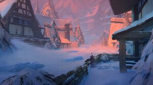 Thomas Stoop Digital Art Fantasy Art Winter Snow Village 1920x960 Wallpaper