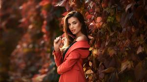 Woman Girl Brunette Coat Leaf Long Hair 1920x1280 Wallpaper
