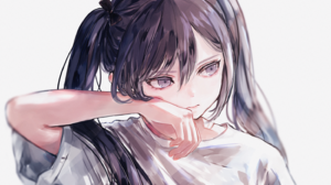 Anime Anime Girls Dark Hair Long Hair Dark Eyes Looking Away White Background Pigtails T Shirt 1450x1000 Wallpaper