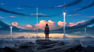 Cloud Girl Landscape Rocket Sky Woman 3840x2160 Wallpaper