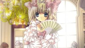 Fan Long Hair Blonde Blue Eyes Tiara Glove Bow Clothing Chandelier 2408x2144 Wallpaper