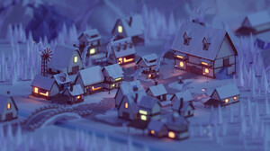 Mohamed Chahin Render Geometry Nature Forest Trees Street City Night Winter House Macro Low Poly 1920x1080 wallpaper