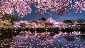 Lake Spring Japan Night 2048x1367 Wallpaper