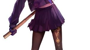 Anime Girls Genshin Impact Keqing Genshin Impact Applekun School Uniform Violet Hair Violet Eyes Lon 1383x2500 Wallpaper