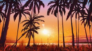 ArtStation Digital Art Sunset 2D Palm Trees Concept Art Judith De Repentigny 1920x862 Wallpaper