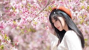 Asian Black Hair Blossom Girl Model Woman 4096x2573 Wallpaper