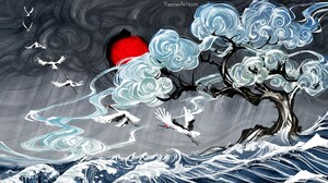 Bird Tree Wave 1920x1080 Wallpaper