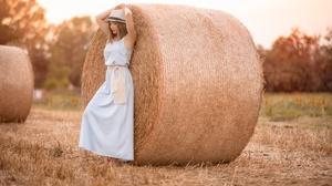 Blue Dress Dress Girl Hat Haystack Model Mood Summer Woman 2048x1280 Wallpaper