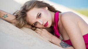 Anastasiya Scheglova Lipstick Lying Down Model Russian Tattoo Woman 2048x1367 wallpaper
