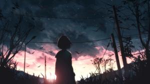 Anime Birds Sunset Sky Blue Power Lines Silhouette Moescape 2655x1600 wallpaper