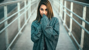 Model Women Brunette Covering Mouth Bridge Sweater 2048x1365 Wallpaper
